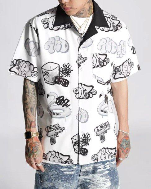 グラフィティ柄開襟半袖シャツの画像1